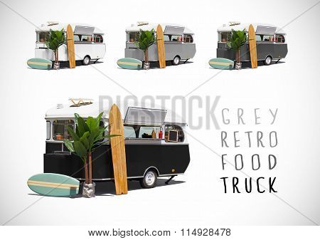 Set Of Grey Food Caravans, Isolated
