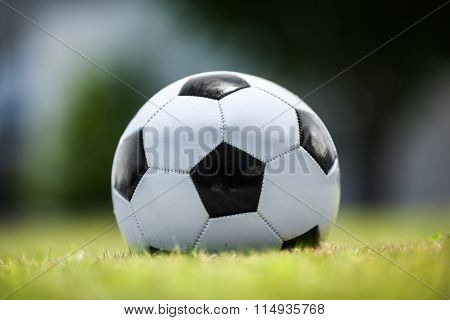 Soccer ball on green lawn