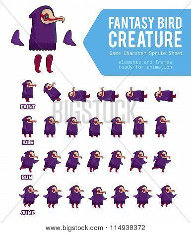 Fantasy Bird Creature Game Character Sprite Sheet