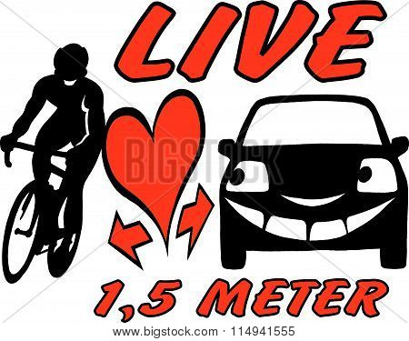 Vector Cartoon Illustration Of An Biker And A Car To Be Aware And Considerate In The Traffic