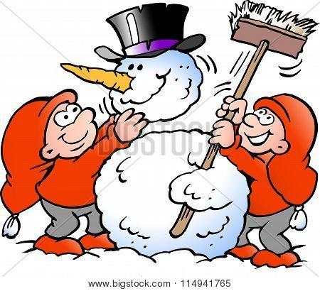 Vector Cartoon Illustration Of Two Happy Elf Making A Big Snowman