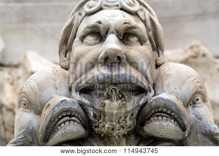 Close up of Fountain of the Pantheon (Fontana del Pantheon) at Piazza della Rotonda. Rome Italy