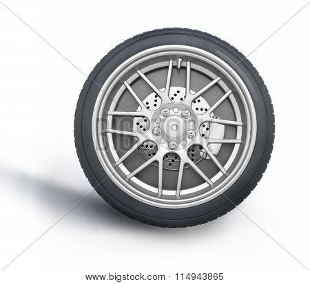 Car Wheel Front View Against White Background