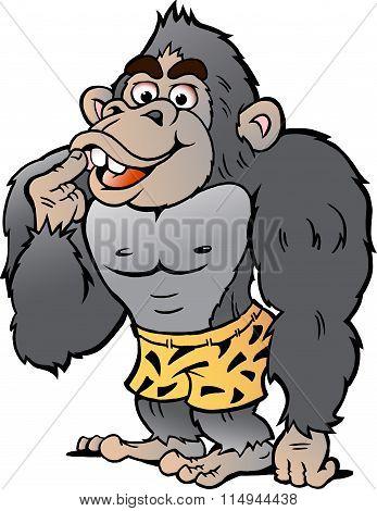 Vector Cartoon Illustration Of A Strong Gorilla