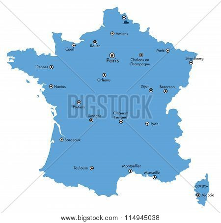Map of France with Cities