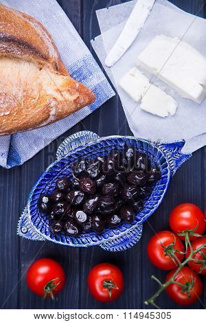 Healthy Turkish breakfast with black olives