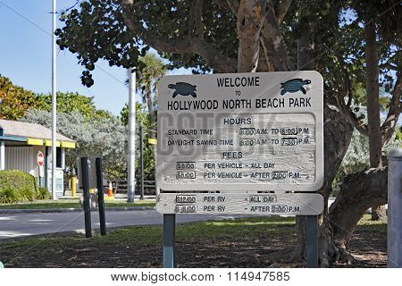 Welcome To Hollywood North Beach Park Sign