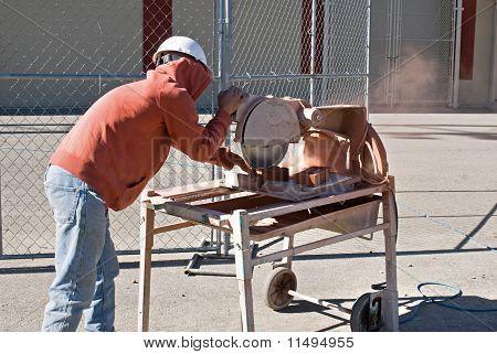 Worker Custom Cutting Brick