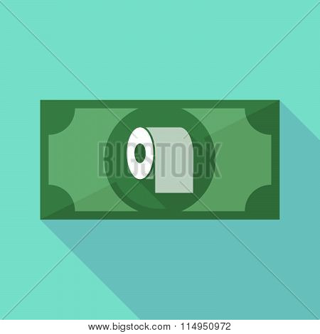 Long Shadow Banknote Icon With A Toilet Paper Roll