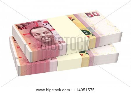 Swazi emalangeni bills isolated on white background. Computer generated 3D photo rendering.