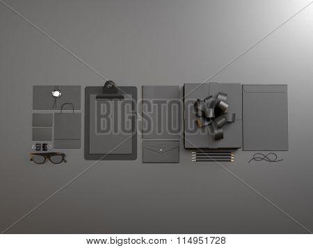 Set of black branding elements on the gray background. 3d render