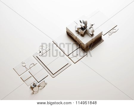 Set of business blank elements on the white background. 3d render