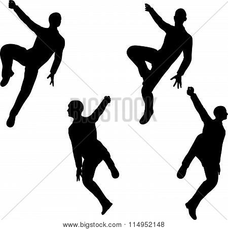 EPS 10 Vector illustration in silhouette of businessman hang in there poster