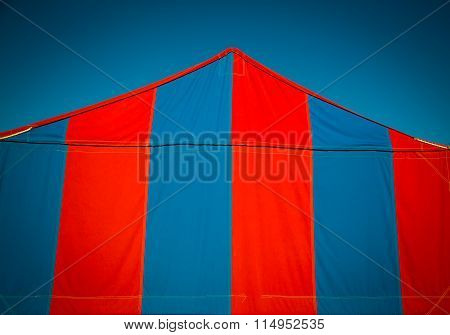 red and blue tent