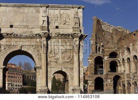 The Arch Of Constantine And Colosseo