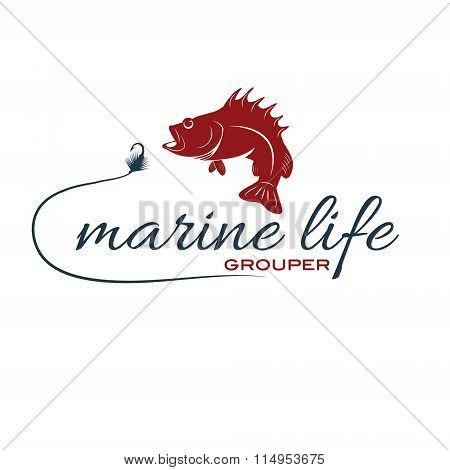 Illustration Marine Life With Grouper