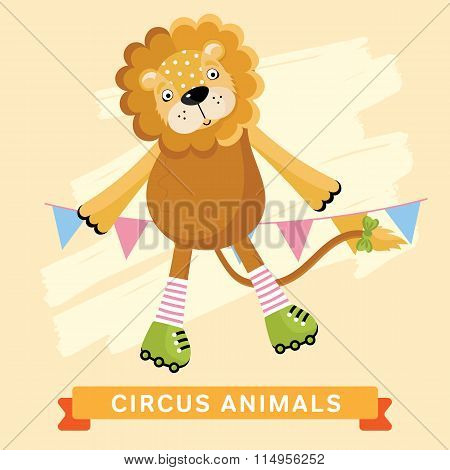 Funny cartoon Circus lion isolated vector illustration
