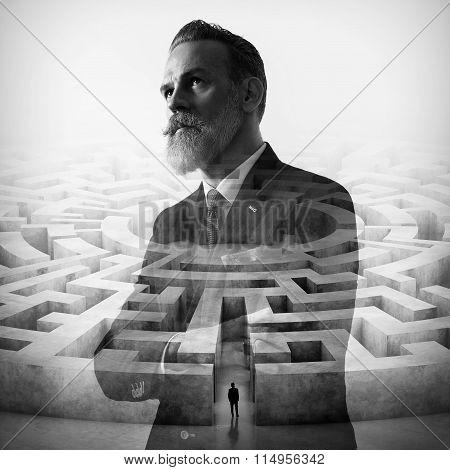 Double exposure of stylish businessman and labyrinth on the background. Square