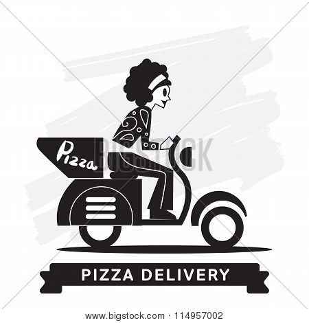 Pizza express delivery icon. Food delivery. Order service. Symbol of food delivery. Pizza express delivery vector icon. Food shipping service. Express delivery sign. Pizza delivery sign. Express delivery illustration. Food delivery service icon.