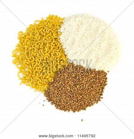 Buckwheat Groats And Rice, Pasta