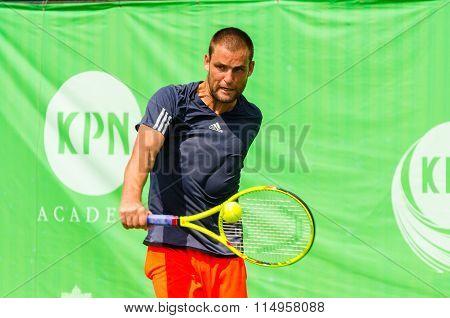 BANGKOK - JANUARY 17 : Mikhail Youzhny of Russia championship of KPN Bangkok Open ATP Challenger Tour 2016 at Rama Gardens Hotel on January 17 2016 in Bangkok Thailand.
