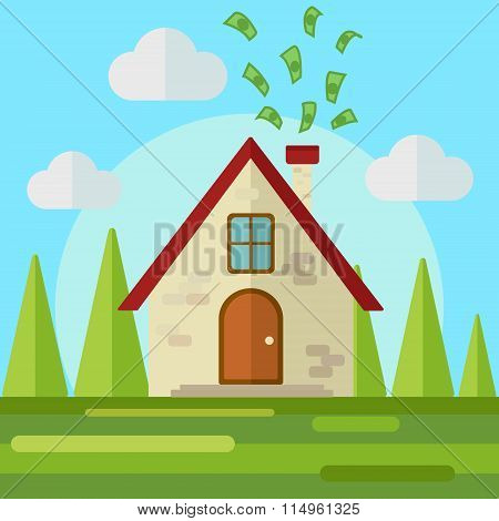 Money go to home flat style vector