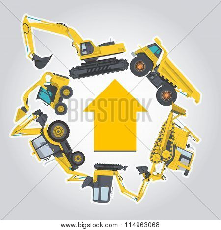 Nice yellow set of Ground Works Machines Vehicles with arrow.