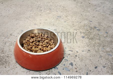 Dog Food In Bowl On Cement Background.