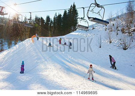 Ski Resort  With Sunbeam