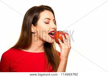 Positive Female Biting A Big Red Apple Fruit Smiling On White Background Eating