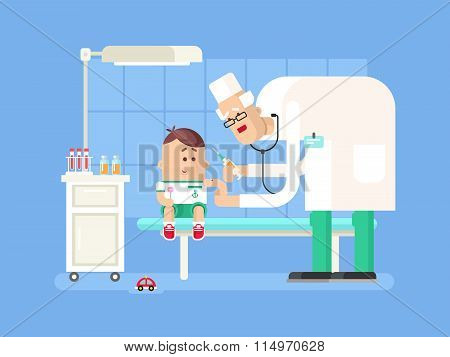 Doctor doing child vaccination