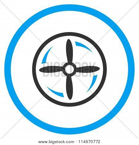 Aircraft Screw Rotation vector icon. Style is bicolor flat circled symbol, blue and gray colors, rounded angles, white background. poster