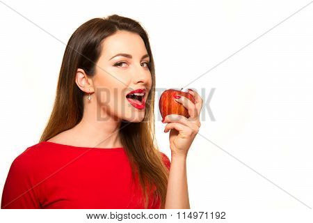 Woman Eating Red Apple Fruit Smiling Isolated On White Background