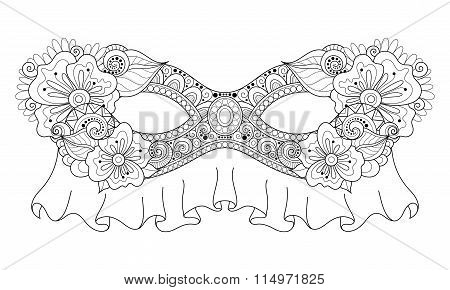 Vector Ornate Monochrome Mardi Gras Carnival Mask With Decorative Flowers