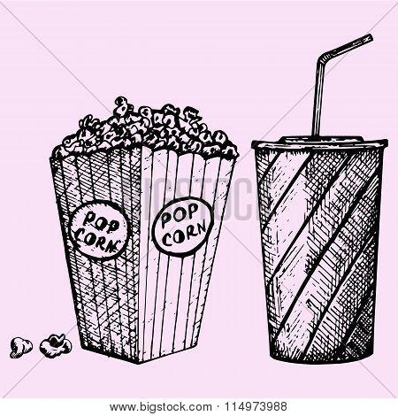 set cinema popcorn and soda