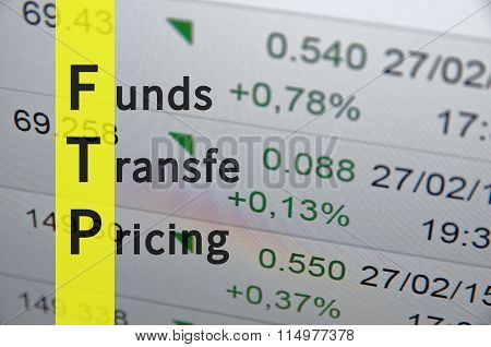 Acronym FTP as Funds transfer pricing. Financial illustration. poster