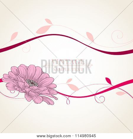 Abstract floral background. Vector flower zinnia. Element for design.