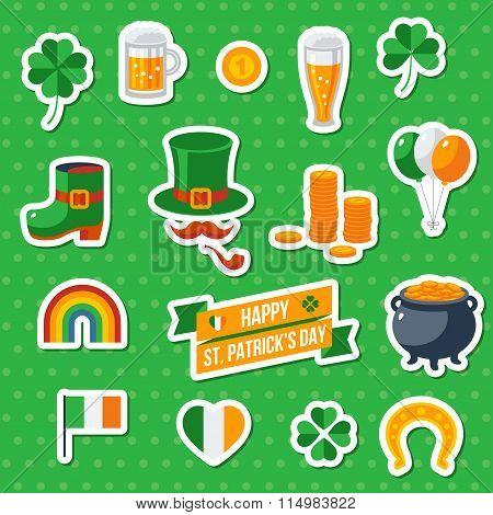 Set Of Happy St. Patricks Day Flat Icons