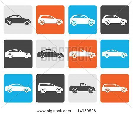 Flat different types of cars icons