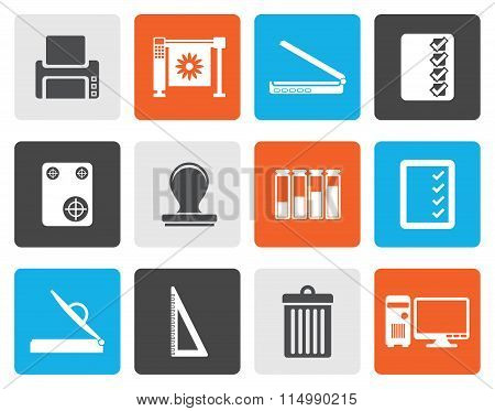 Flat Print industry Icons