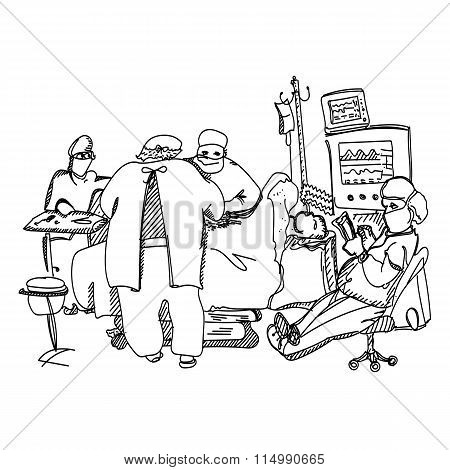 Anesthesiologist resting during operation