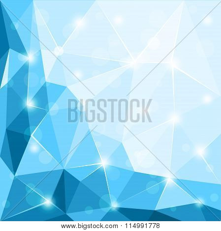 Abstract polygonal geometric facet shiny blue background