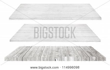 White wooden shelves or tabletop isolated on white