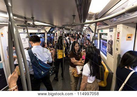 Crowd Of The Passengers Inside Of BTS Public train