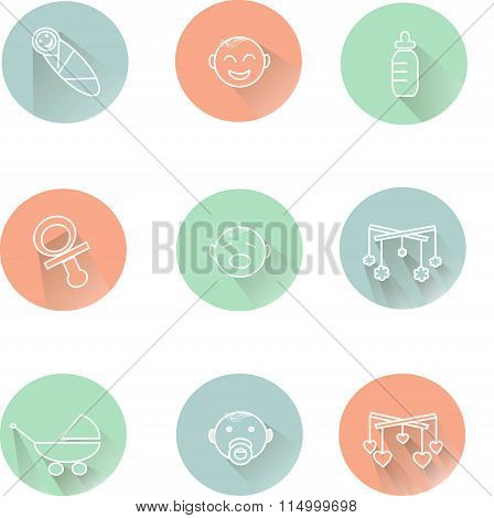 Children's badges, the white lines in pastel pink, blue, green, cool colors, shadow