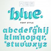Vector letters made of blue jelly liquid. Latin alphabet from A to Z. Vivid realistic typeface. poster
