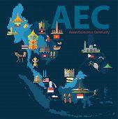 Asean Economics CommunityAEC eps map 10 format poster