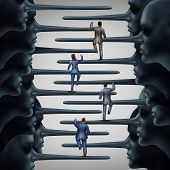Corrupt system concept and dishonest organization idea as a group of business people climbing a ladder shaped with fraudulent members of leadership with long liar noses as a metaphor for corporate or structural corruption and fraud. poster