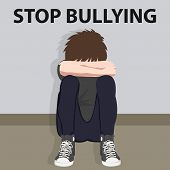 stop bullying kids bully victim young child bullied vector illustration cartoon poster