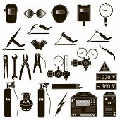 Set icons of welding isolated on black. Vector illustration poster